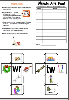 Initial Blends Dice Game - Literacy Centre Activity