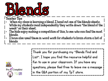 Initial Blends:Read, Find and List