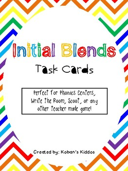 Initial Blends Task Cards and Recording Sheets
