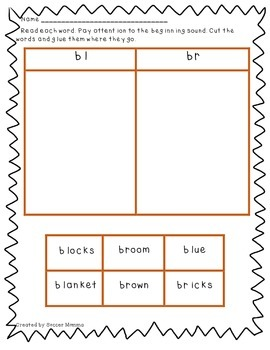Initial Blends Word Sorts