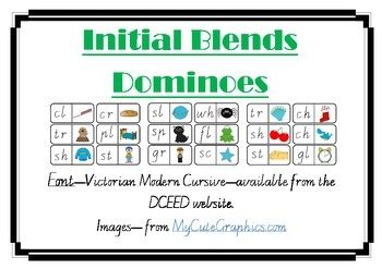 Initial Blends dominoes cards - vic cursive