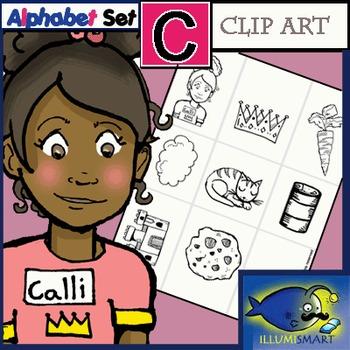 "Initial ""C"" Kindergarten Clip-Art! 8 BW, 8 Color, 1 Cut-Out Sheet"