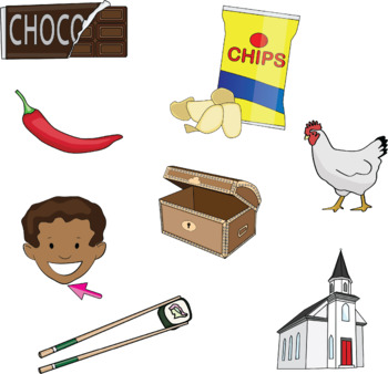 Initial CH words Clip art in Color and B&W