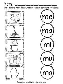 Initial Consonant Blend Match (1 consonant per page)