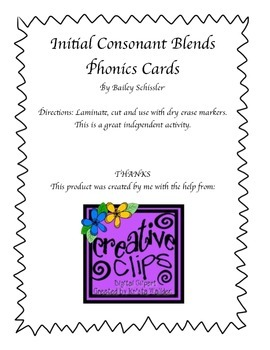 Initial Consonant Blends Phonics Cards