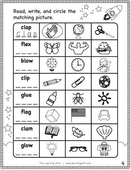 Initial Consonant Blends Practice Booklet (bl, cl, fl, gl)