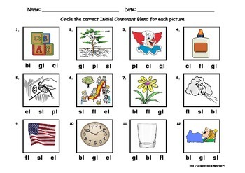 "Initial Consonant Blends Worksheet - 2 letter blends containing ""L"""