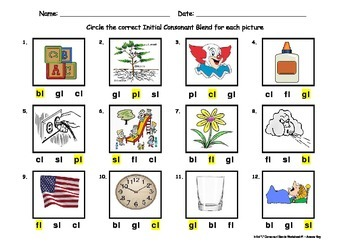 Initial Consonant Blends Worksheet - 2 letter blends containing