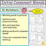Initial Consonant Blends Worksheets, Word work, Mini word