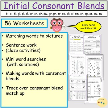 Initial Consonant Blends Worksheets, Word work, Mini word searches, Matching up