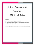 Initial Consonant Deletion Minimal Pair Cards