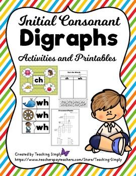 Digraphs Beginning Consonants Activities and Printables