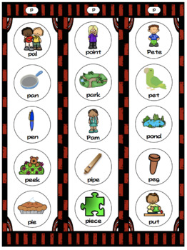 Initial Consonant Strips for Quick Articulation or Home Practice
