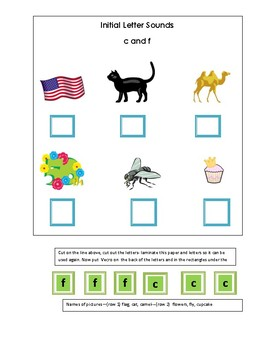 Phonics---Initial letter Worksheet c and f for the non-writer