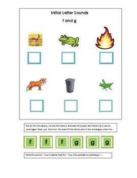 Phonics----Initial letter Worksheet f and g for the non-writer