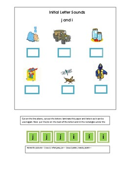 Phonics-----Initial letter Worksheet j and i for the non-writer