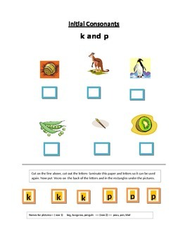 Phonics---Initial letter Worksheet k and p for the non-writer
