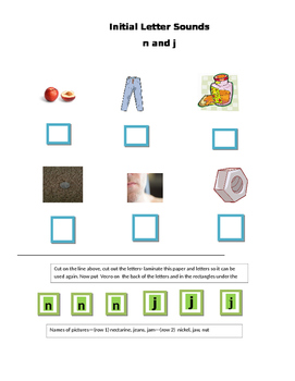 Phonics --Initial letter Worksheet n and j for the non-writer