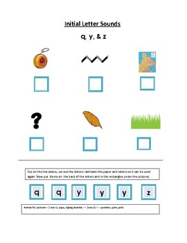 Phonics---Initial letter Worksheet q, x,y,and z for the non-writer