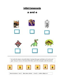 Phonics----Initial letter Worksheets a and e for the non-writer