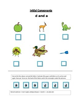 Phonics----Initial letter Worksheets d and a for the non-writer