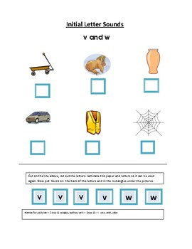 Phonics----Initial letter Worksheet v and w for the non-writer