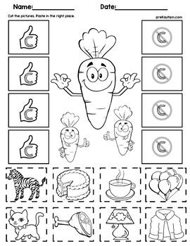 Initial Consonants Cut and Match Worksheets