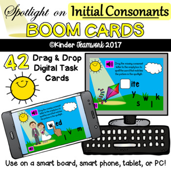 Initial Consonants - Drag and Drop BOOM Task Cards {NO PREP!}