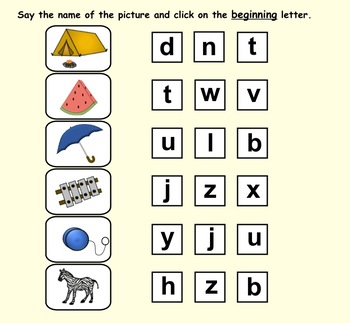 Initial Consonants Smartboard File with printable flashcards
