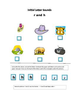 Phoncis----Initial letter Worksheet r and h for non-writer