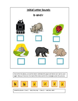 Phonics----Initial letter Worksheets b and r for non-writers