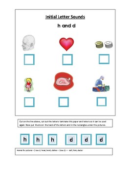 Phonics----Initial letter Worksheets h and d for the non-writer