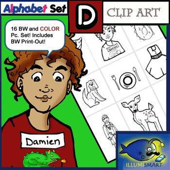 """Initial """"D"""" Kindergarten Clip-Art! 8 BW, 8 Color, 1 Cut-Out Sheet"""