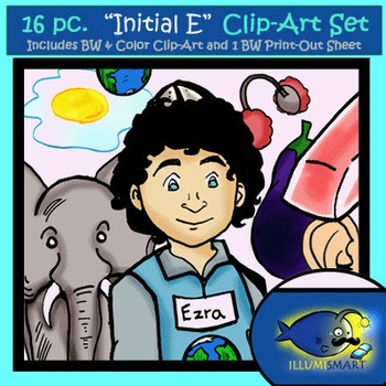 "Initial ""E"" Kindergarten Clip-Art! 8 BW, 8 Color, 1 Cut-Out Sheet"
