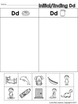Initial/Ending Consonant Sorts - Benchmark© Kindergarten Phonics