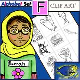 "Initial ""F"" Kindergarten Clip-Art! 8 BW, 8 Color, 1 Cut-Out Sheet"
