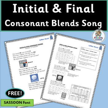 FREE! Consonant Blends Song complete with chart and mp3!  (SASSOON)