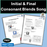 Consonant Blends Song complete with chart and mp3!