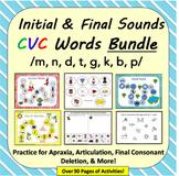 Initial & Final Sounds in CVC Words BUNDLE: Apraxia, Final Consonant Deletion