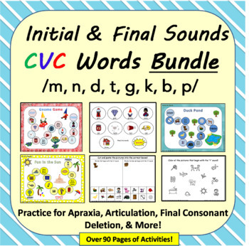 Initial & Final Sounds in CVC Words Bundle: Apraxia, Final Consonant, Artic