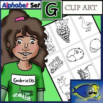 """Initial """"G"""" Kindergarten Clip-Art! 8 BW, 8 Color, 1 Cut-Out Sheet"""