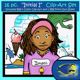 "Initial ""I"" Kindergarten Clip-Art! 8 BW, 8 Color, 1 Cut-Out Sheet"
