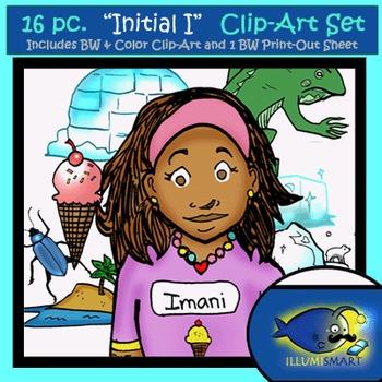 "Initial ""I"" Kindergarten Clip-Art! 8 BW, 8 Color, 1 Cut-Out Sheet"