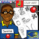 "Initial ""J"" Kindergarten Clip-Art! 8 BW, 8 Color, 1 Cut-Out Sheet"