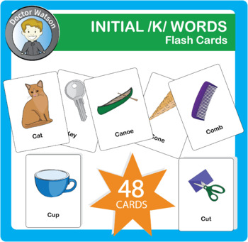 Initial K Flashcards 3x5 in Color and B&W