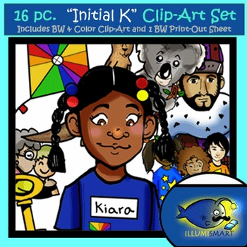 "Initial ""K"" Kindergarten Clip-Art! 8 BW, 8 Color, 1 Cut-Out Sheet"