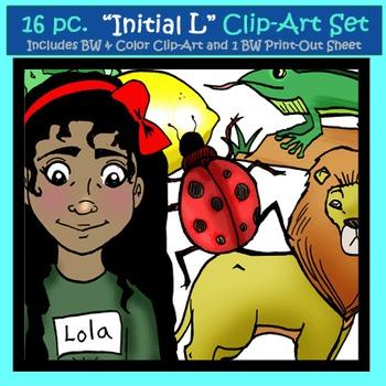 "Initial ""L"" Kindergarten Clip-Art! 8 BW, 8 Color, 1 Cut-Out Sheet"