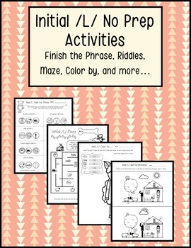 Initial /L/ Articulation No Prep Worksheets, Activities, Print and Go