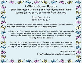 Initial L-blend game boards