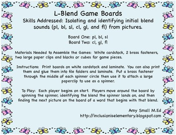 Initial L-blend game boards